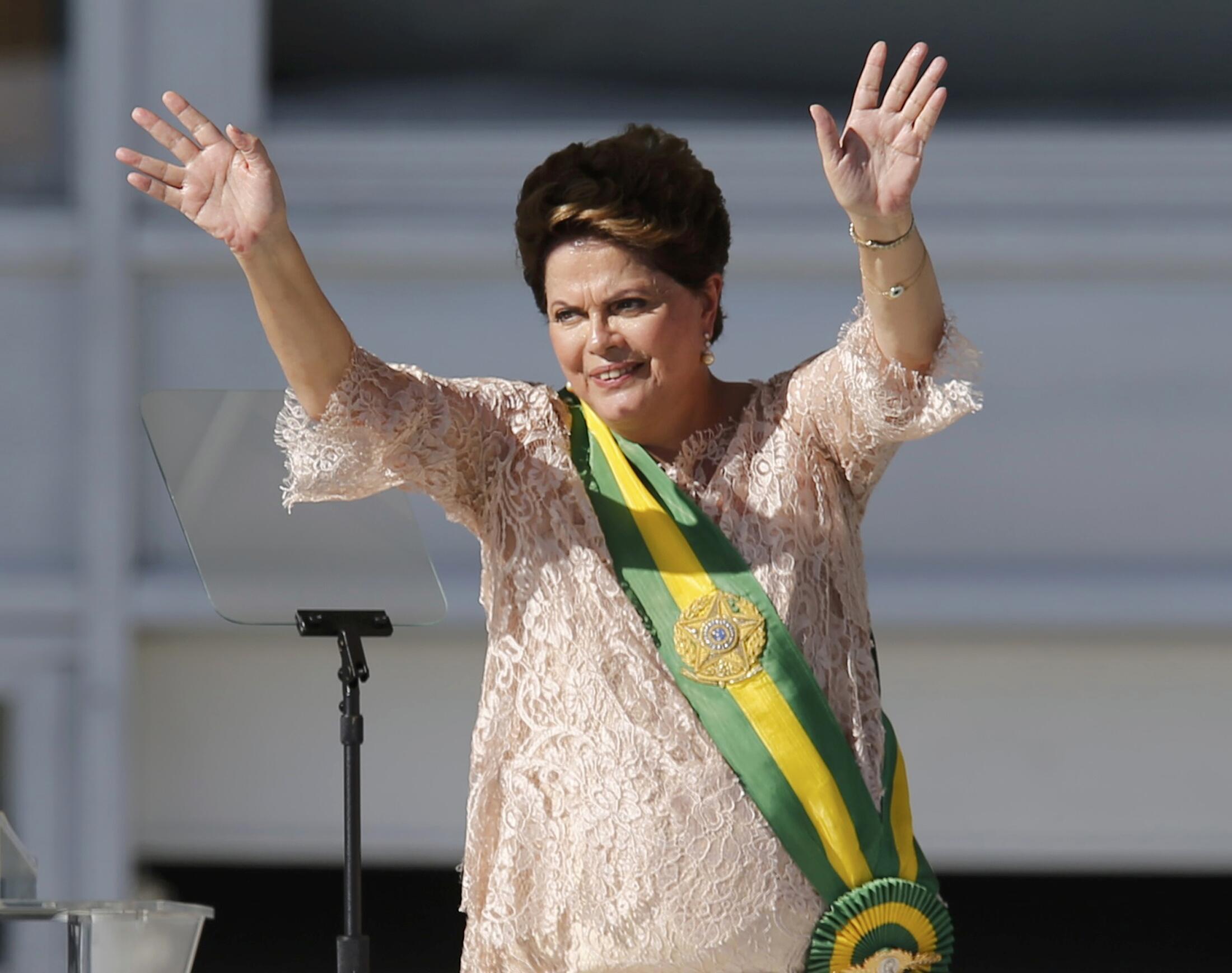 A presidente Dilma Rousseff durante a posse do segundo mandato, em Brasília, no dia 1° de janeiro de 2015.