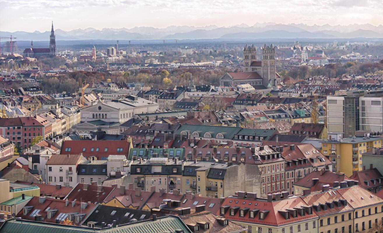 Vue de Munich, en Bavière, région du sud de l'Allemagne.