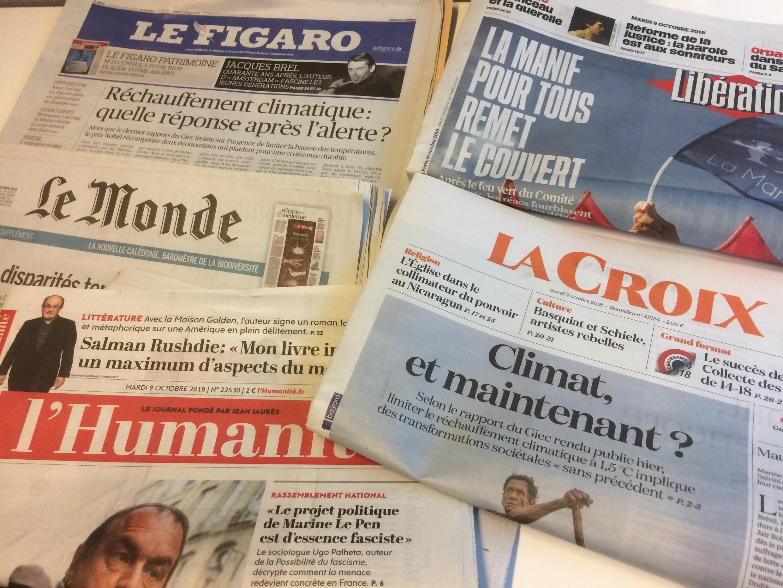 Primeiras páginas dos jornais franceses de 9 de outubro de  2018