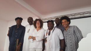 De gauche à droite: Ablaye Cissoko, Madani Tall, Emmanuelle Bastide, Barthélémy Toguo, Oumar Yam, Bagoré Bathily.