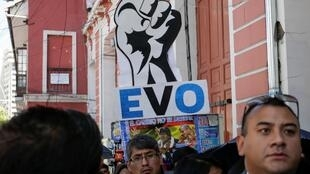 Des partisans du président Evo Morales manifestent à La Paz, le 23 octobre 2019.