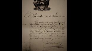 Manuscrito de Don José de San Martín desaparecido del Archivo General de la Nación.