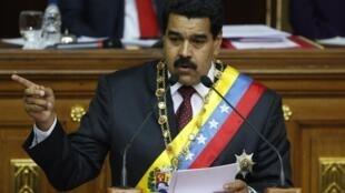 Nicolás Maduro durante su discurso anual ante la Asamblea Nacional, en Caracas, este 15 de enero de 2014.