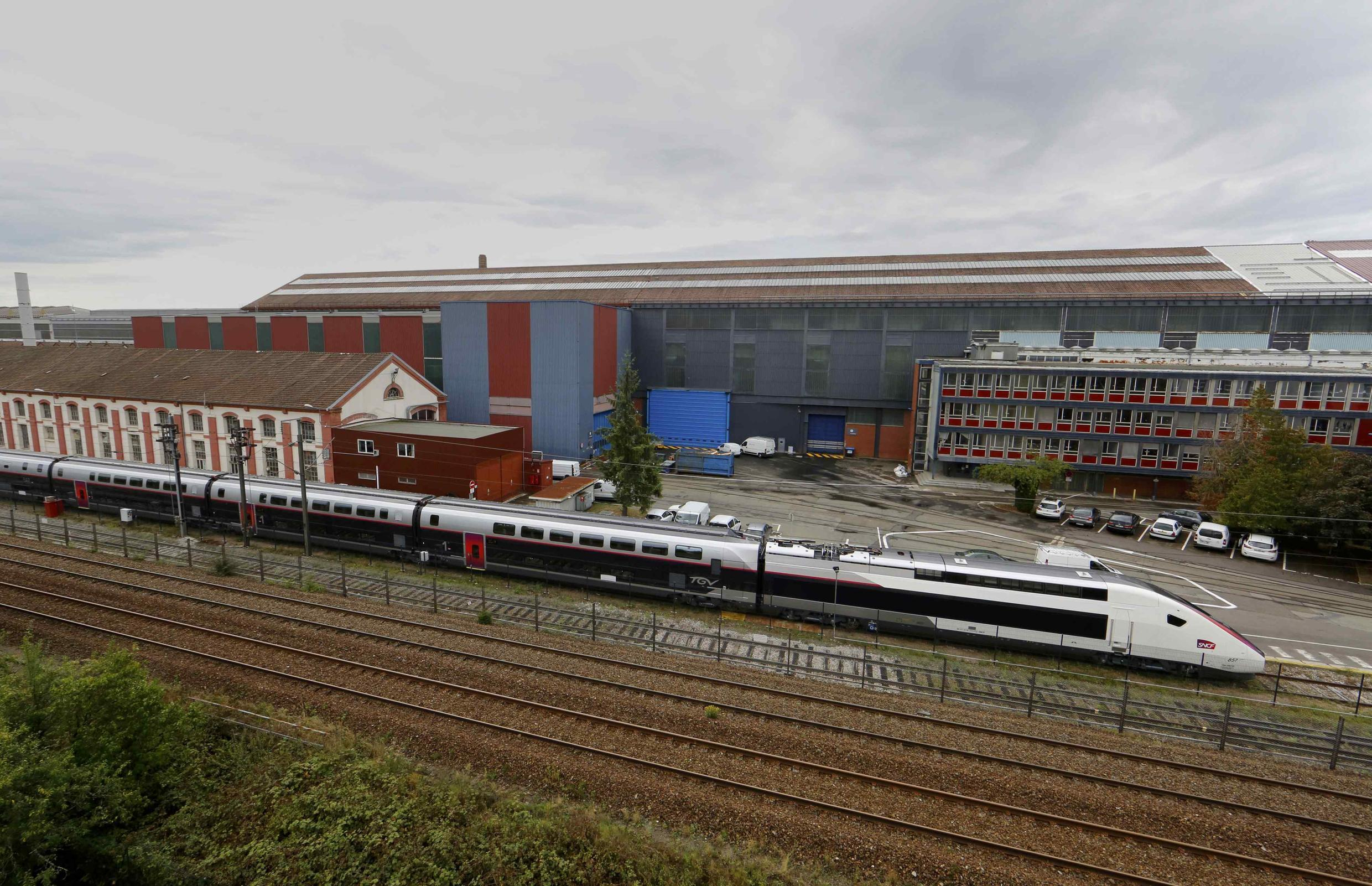 A high-speed TGV train sits outside the Alstom plant in Belfort, France.
