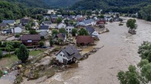 德国西部因苏尔受到阿尔河侵蚀.摄于2021年7月15日