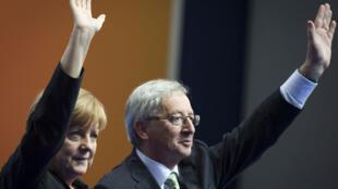 Angela Merkel et Jean-Claude Juncker, à Berlin, le 5 avril 2014.