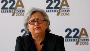La présidente du CNE, Tibisay Lucena lors des inscriptions de candidats à la présidentielle à Caracas, le 26 février 2018.