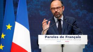 Thủ tướng Edouard Philippe tổng hợp kiến nghị của 2 triệu người dân sau cuộc thảo luận toàn quốc. Ảnh ngày 08/04/2019..