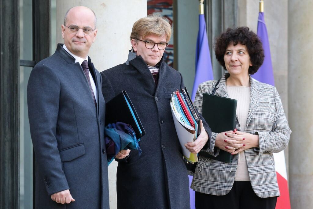 French ministers in charge of the reform on university fees: Education Minister Jean-Michel Blanquer (L) and French Minister of Higher Education Frederique Vidal (R)