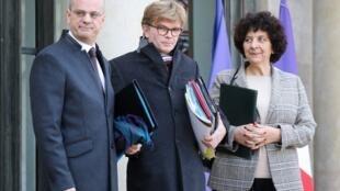 El ministro de Educación francés Jean-Michel Blanquer (izq.) y la ministra de la Enseñanza superior, Frédérique Vidal (der.) en París.