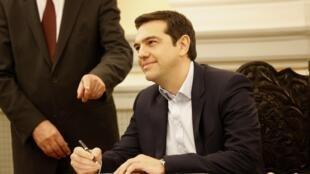 Alexis Tsipras tân Thủ tướng Hy Lạp. Ảnh ngày 26/01/2015