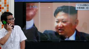 A imagem de Kim Jong-un em um canal de TV japonês, que anuncia o sexto teste nuclear do regime norte-coreano neste domingo, 3 de setembro de 2017.