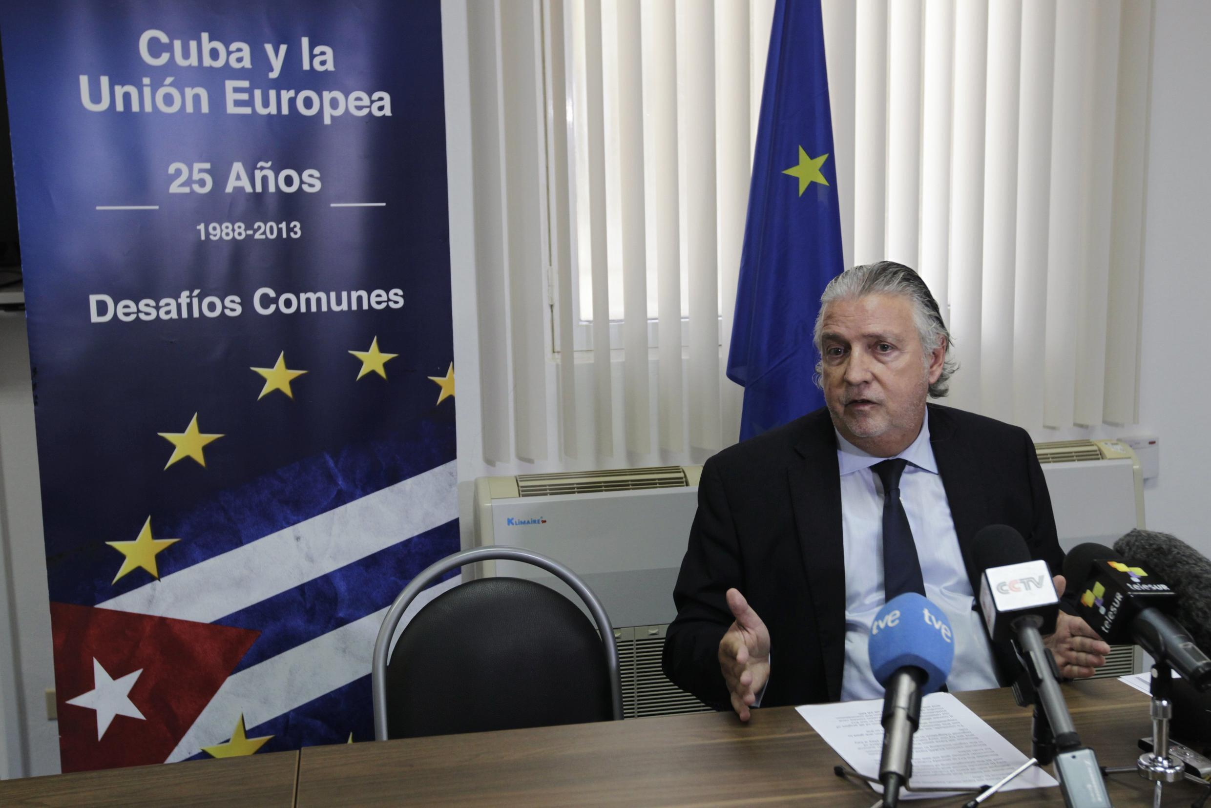 European Union ambassador to Cuba Herman Portocarero speaks in a news conference in Havana about EU agreement on Monday to launch negotiations with Cuba to increase trade, investment and dialogue on human rights