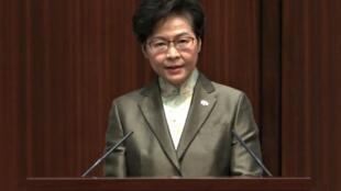 林正月娥在沒有民主派議員出席的立法會內宣讀施政報告 2020年11月25日