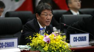 Bộ trưởng Kinh Tế Nhật Toshimitsu Motegi phát biểu tại cuộc họp TPP-11 ngày 09/11/2017 tại Đà Nẵng.