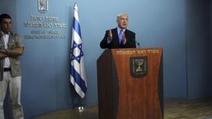 El Primer ministro israelí Benjamín Netanyahu en su discurso a la nación el  1 de julio 2010.