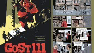 Couverture de la BD «Gost 111» de Marion Mousse, Mark Eacersall et Henri Scala parue chez Glénat / une planche de leur bande dessinée.