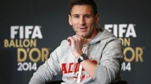 Lionel Messi na Argentina a bikin bayar da kyautar gwarzon dan wasan duniya na 2014 a Zurich