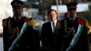 El presidente de Panamá Juan Carlos Varela en Ramala, 18 de Mayo de 2018.