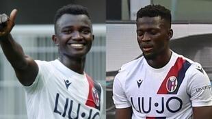 Les Gambiens Musa Juwara (à gauche) et Musa Barrow (à droite) ont marqué les deux buts de la victoire de Bologne contre l'Inter Milan (2-1), le 5 juillet 2020.
