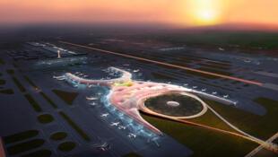 Une photo de la maquette du projet retenu pour le nouvel aéroport international de Mexico.