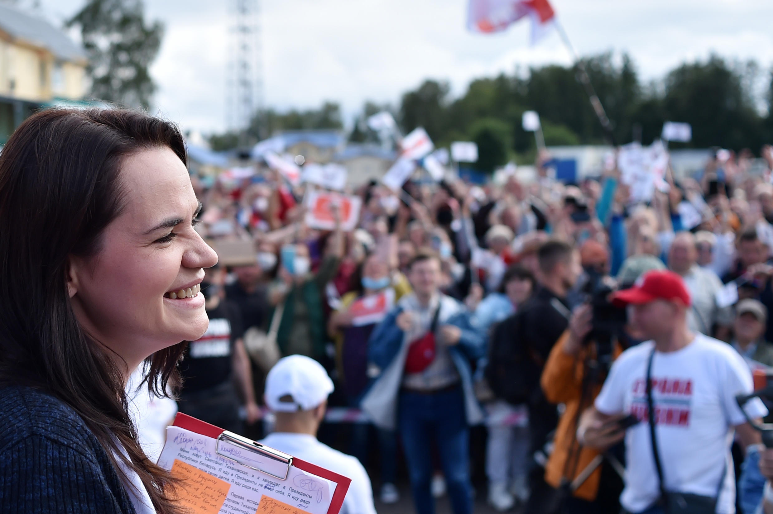 Tikhanovskaya stepped into the race at great personal risk after the detention of her husband, who had hoped to stand himself