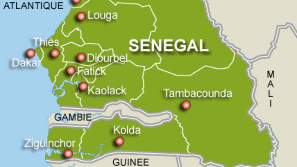 Carte du Sénégal.
