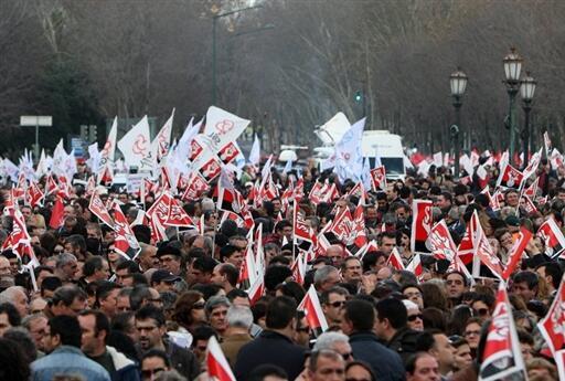 La manifestación de empleados públicos en Lisboa, el 5 de febrero de 2010, fue el primer gran acto de inquietud social desde que el primer ministro José Sócrates llegó al poder.