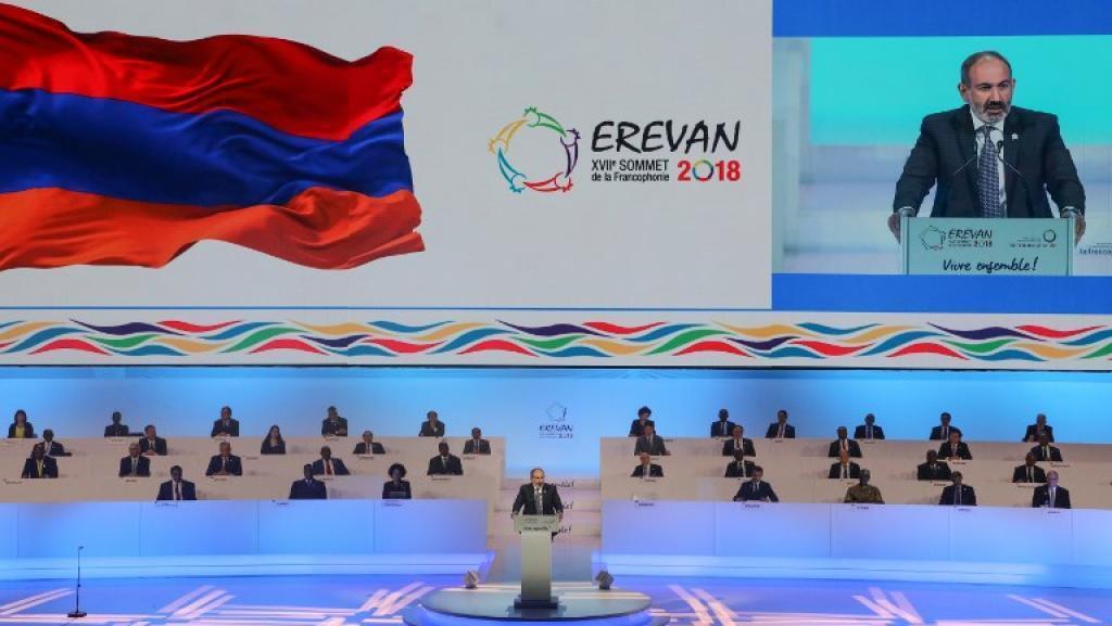 Zauren taron kungiyar kasashe masu magana da harshen Faransanci, Francophonie, dake gudana birnin Yerevan dake kasar Armenia.