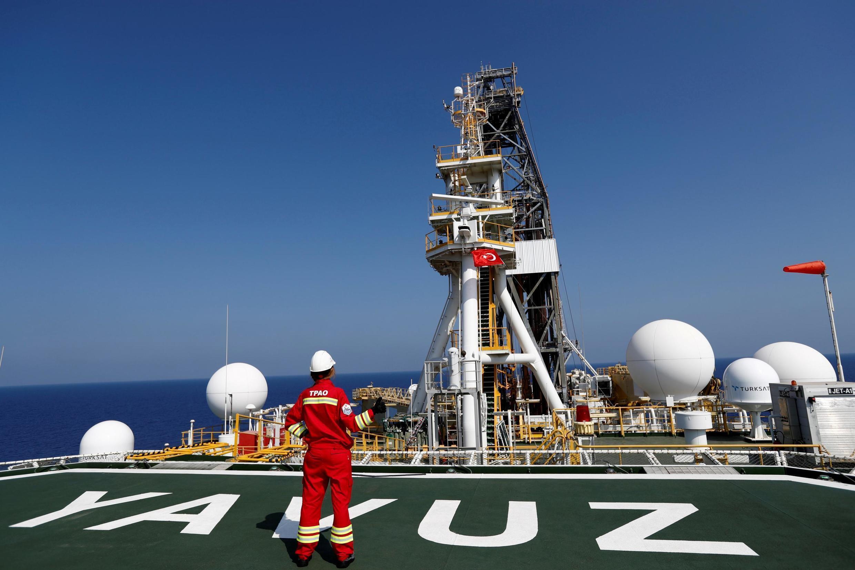 À bord du navire d'exploration et de forage turc «Yakuz», le 6 août 2019, au large de Chypre.