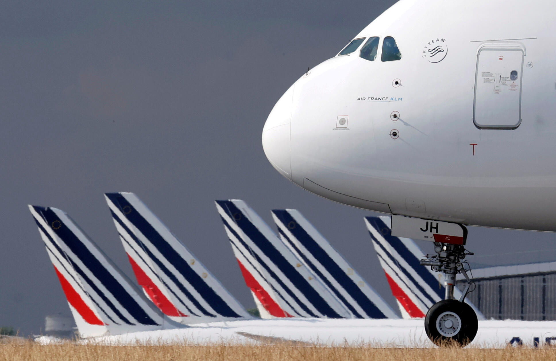 Some of the Air France fleet on the tarmac of Charles de Gaule airport, Paris on 26 June 2020.