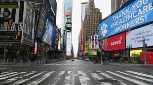 New York's Times Square on April 03, 2020 -- the shutdown in the state has been extended until near the end of the month