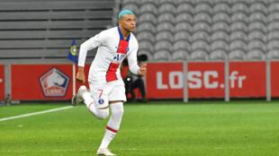 Kylian Mbappé a disputé un quart d'heure de jeu à Lille, le 20 décembre 2020