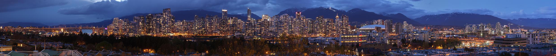 Vue de Vancouver (Colombie britanique, Canada) au coucher du soleil.