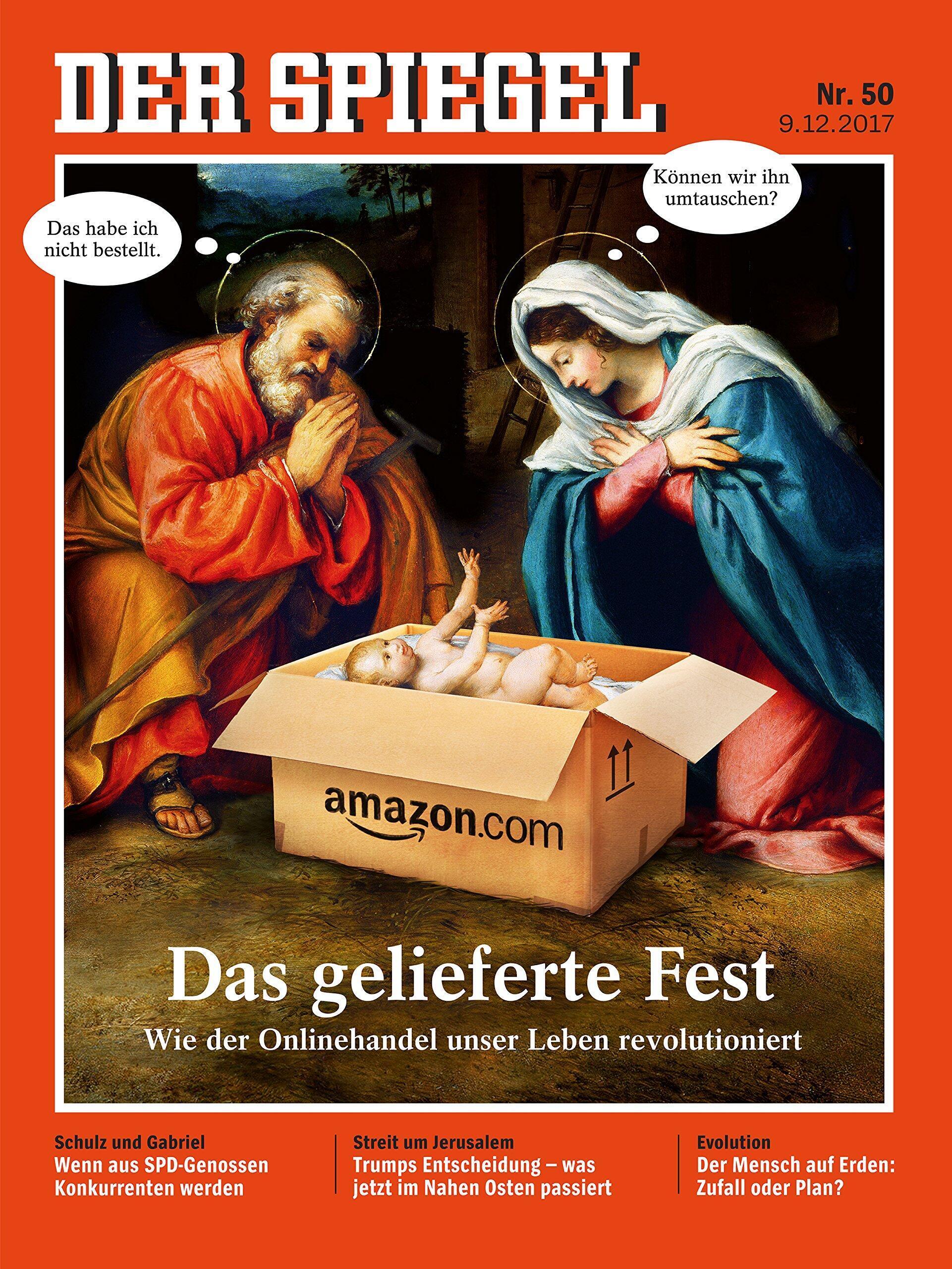 """La Une du Spiegel. Joseph:""""Ce n'est pas ce que j'avais commandé""""- Marie: """"Est-ce qu'on peut l'échanger?"""""""