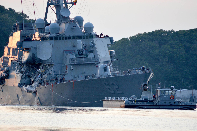 """美國驅逐艦""""菲茲傑拉德""""號驅逐艦遭撞的部位很關鍵。"""
