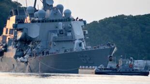 """美国驱逐舰""""菲兹杰拉德""""号驱逐舰遭撞的部位很关键。"""