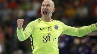 Thierry Omeyer, en 2017, sous le maillot du PSG Handball.