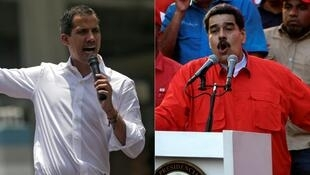 Esta combinación de imágenes, creada el 1 de mayo de 2019, muestra al líder opositor venezolano Juan Guaidó (I) y al presidente de Venezuela, Nicolás Maduro (D), pronunciando discursos por el Día de los Trabajadores, el 1 de mayo de 2019 en Caracas