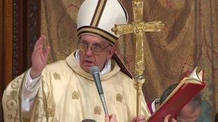 Imagem da primeira missa do papa Francisco