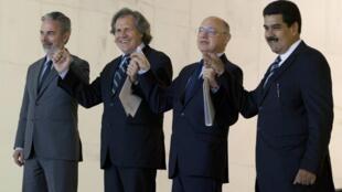 Los ministros de Relaciones Exteriores Antonio Patriota (Brasil), Luis Almagro (Uruguay), Héctor Timerman (Argentina) y Nicolás Maduro (Venezuela), este 30 de julio de 2012 en Brasilia.