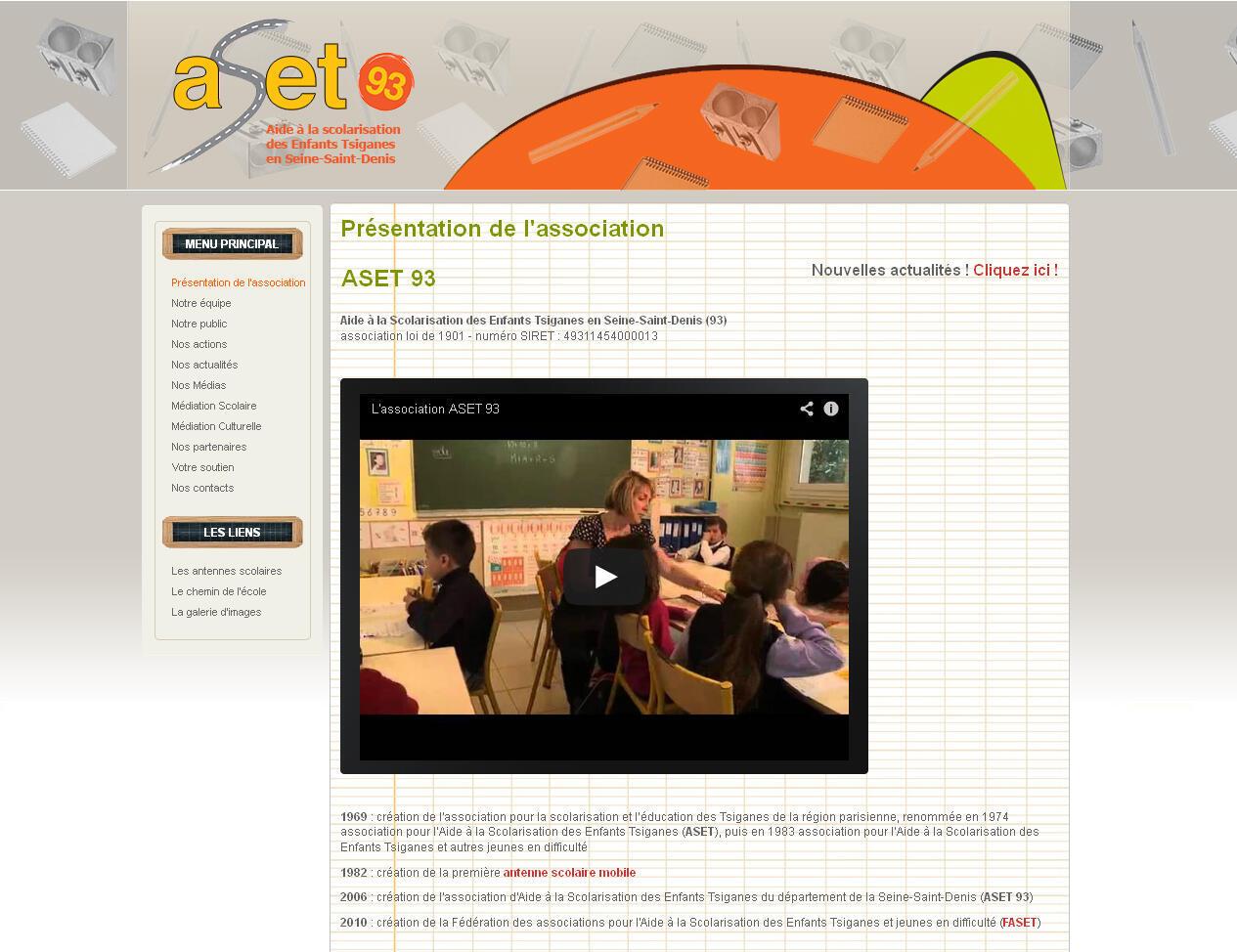 Site internet de l'association d'aide à la scolarisation des enfants tsiganes en Seine-Saint-Denis (Aset93).