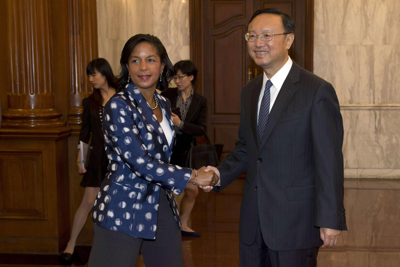 Cố vấn an ninh Tổng thống Mỹ, bà Susan Rice và Ủy viên Quốc vụ đối Ngoại TQ, Dương Khiết Trì tại Bắc Kinh. Ảnh ngày 08/09/2014.