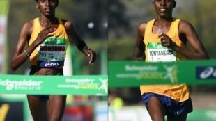 La Kényane Prurity Rionoripo et son compagnon Paul Lonyangata, tous deux vainqueurs du Marathon de Paris 2017.