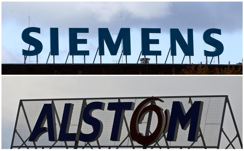 Фотомонтаж логотипов немецкого Siemens и французского Alstom