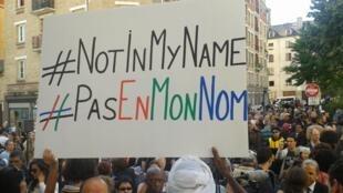 'No en mi nombre', este 26 de septiembre de 2014 en París.