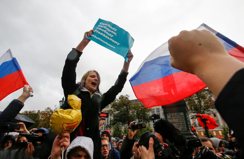 Акция сторонников Навального на Пушкинской площади в Москве 7 октября 2017
