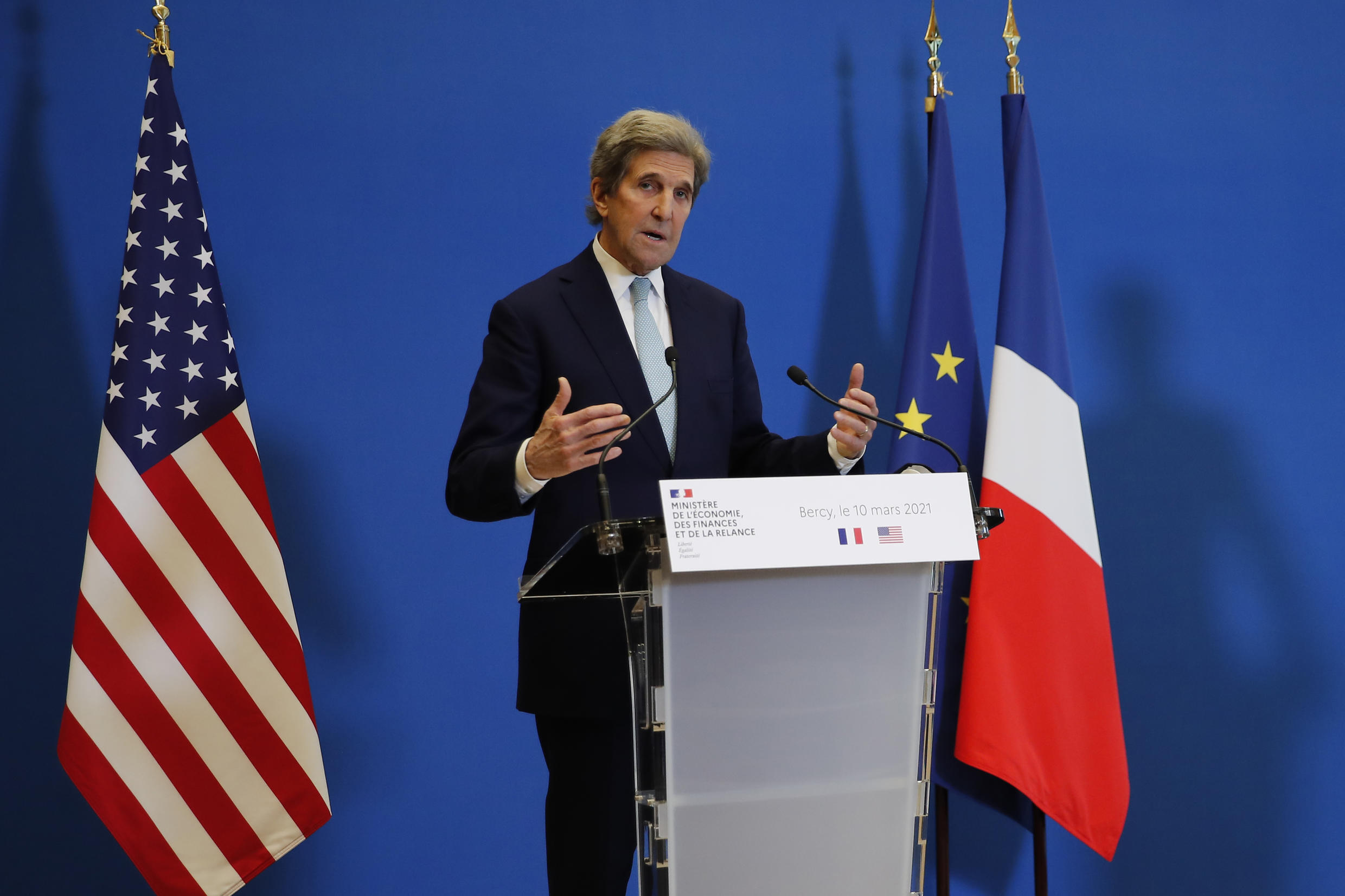 United States Special Presidential Envoy for Climate John Kerry speaks during a joint press conference with French Economy and Finance minister Bruno Le Maire, Wednesday, March 10, 2021 in Paris. On Tuesday, John Kerry traveled to Brussels to relaunch transatlantic cooperation with European officials in the wake of President Joe Biden's decision to rejoin the global effort to curb climate change.