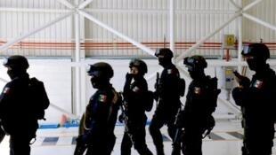 Des policiers fédéraux à l'aéroport de Mexico, le 15 juillet 2012.