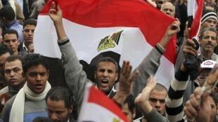 Biểu tình phản đối Hội đồng quân sự Ai Cập tại quảng trường Tahrir, Cairo ngày 20/01/2012.